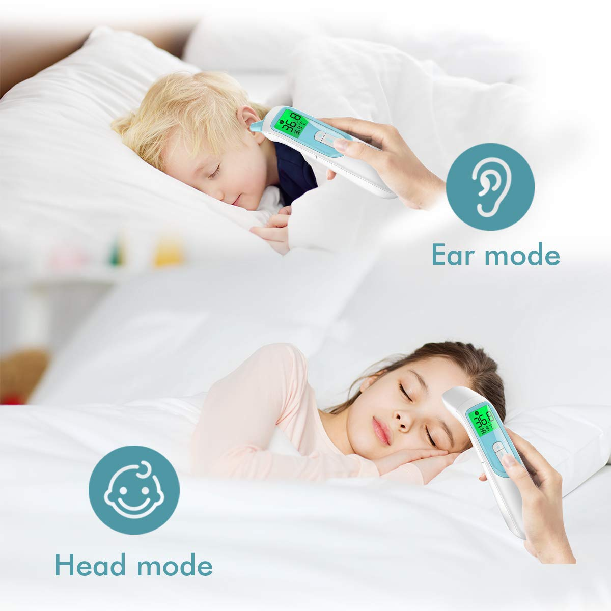 【Upgraded Version】Mosen Medical Infrared Magnetic Thermometer for Fever Easy Operation 1s Measurement Professional Certification Ear and Forehead Thermometer for Baby Kids Adults Surface and Room