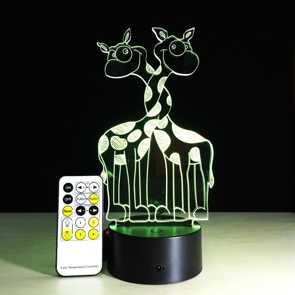 Luz de Noche 3D LED de Control Remoto Colorido Touch USB Gradient Ilusión Mesa de Escritorio Lámpara de Ambiente Regalo Jirafa: Amazon.es: Deportes y aire ...