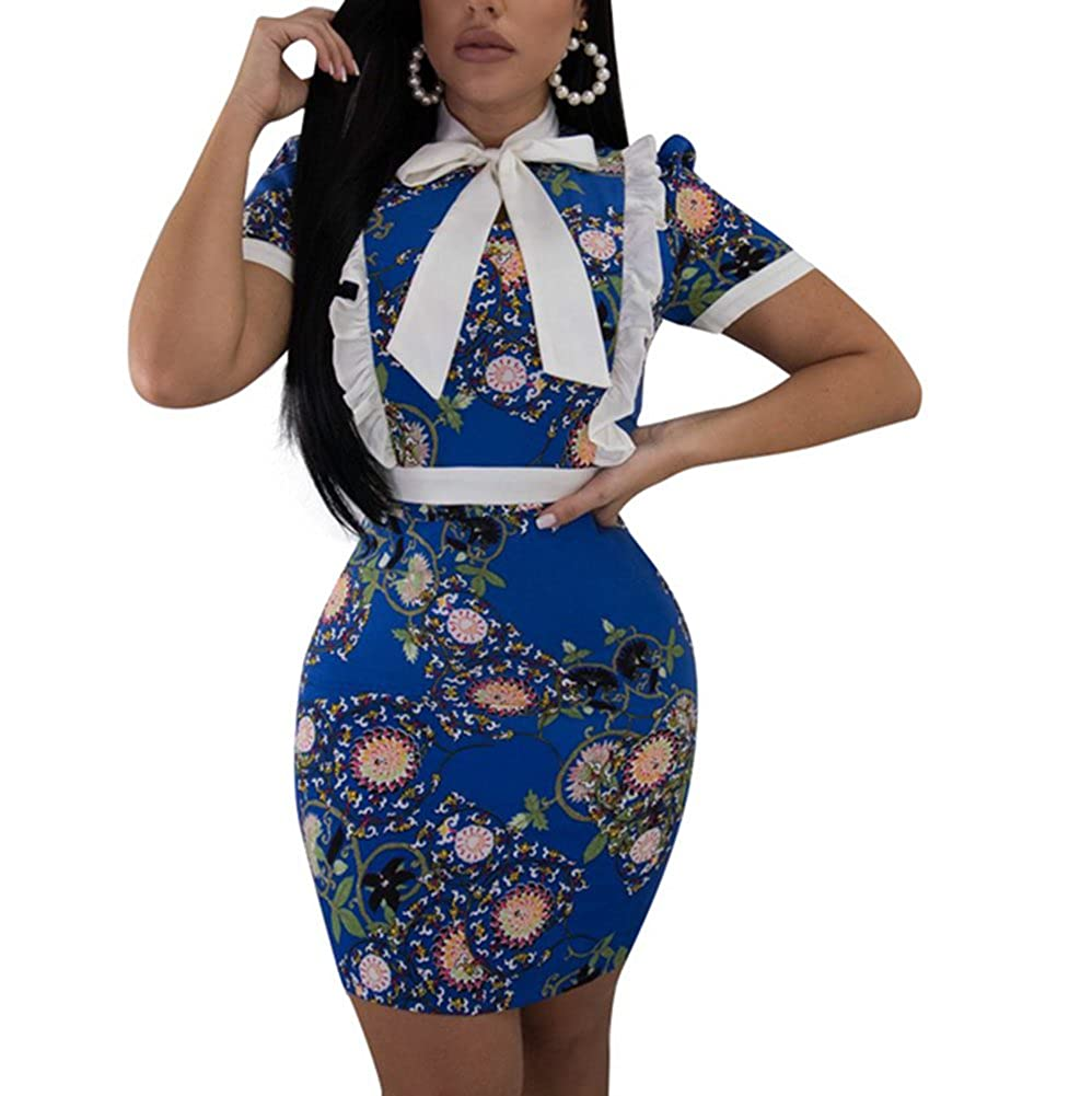 bluee MS Mouse Women's Sexy VNeck Hot Stamping Long Sleeve Bodycon Cocktail Party Club Mini Dress