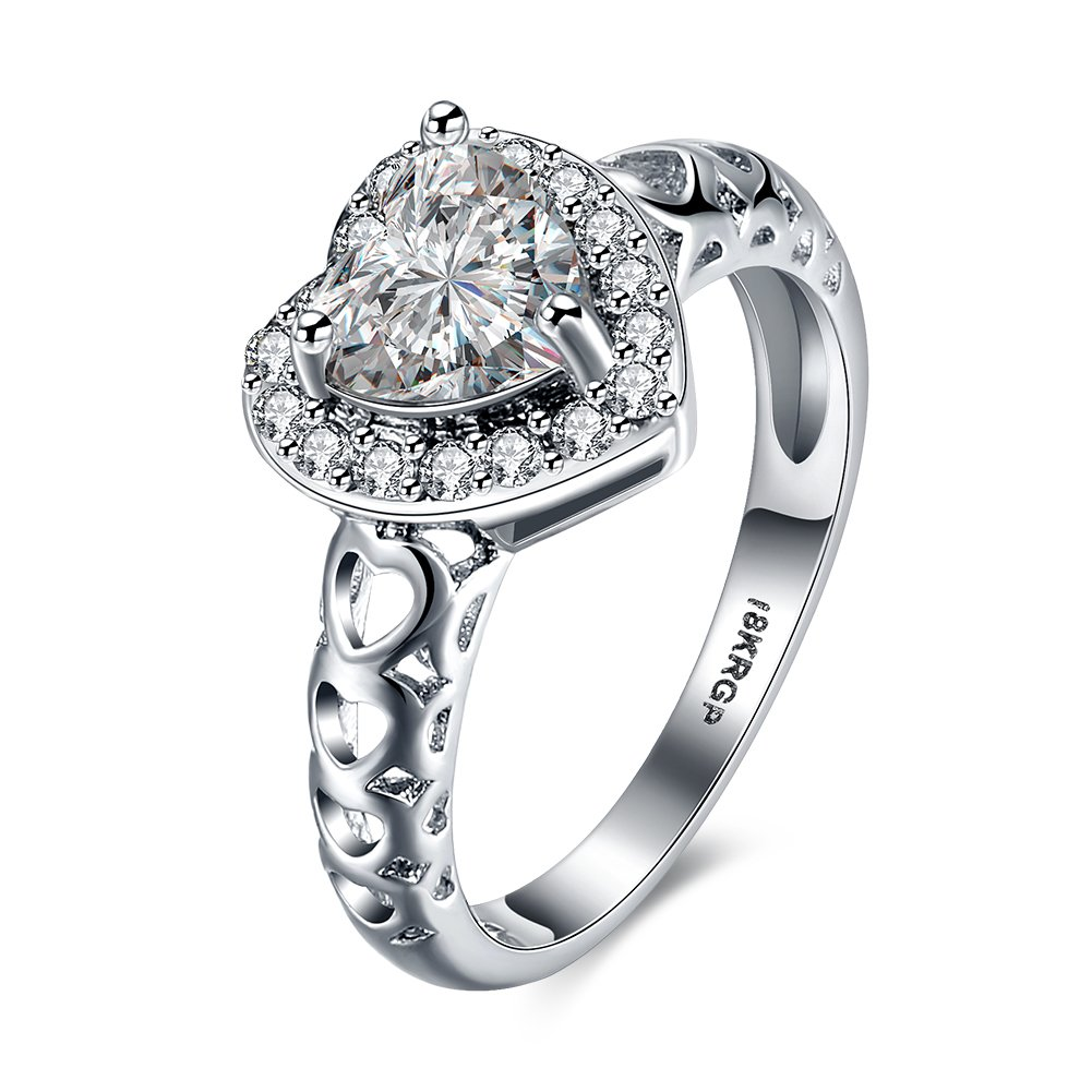 DreamSter Heart Cubic Zirconia Diamond Rings for Women Wedding Promise...