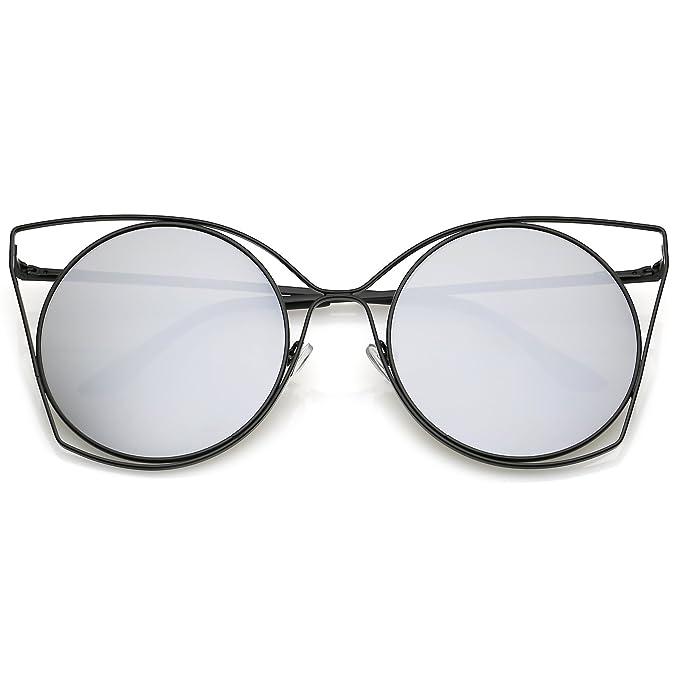 a444f8d0dba Amazon.com  sunglassLA - Oversize Slim Metal Cutout Cat Eye Sunglasses With  Round Mirrored Flat Lens 58mm (Black Silver Mirror)  Clothing