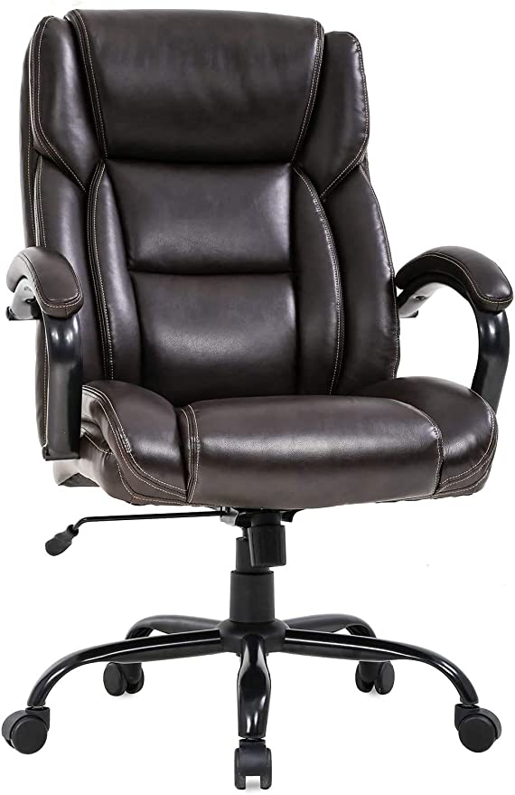 Amazon Com Big And Tall Executive Office Chair Adjustable Height Pu Leather Swivel Ergonomic Desk Chair W Thick Padding Headrest Lumbar Support Arms For Home Office Black Big Tall 500 Lbs Brown