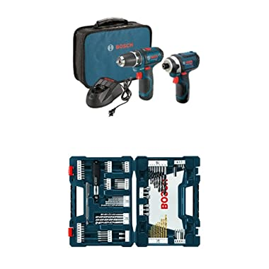 Bosch Power Tools Drill Kit - CLPK22-120 - 12-Volt Lithium-Ion 2-Tool Combo Kit (Drill/Driver and Impact Driver) with 2 Batteries, Charger and Case w/ 91 pc drill and drive bit set