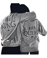 Jubileens The King And His Queen Letters Printed Matching Couple Sweatshirts Pullover