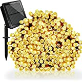 Tobbiheim Solar & USB String Lights 72ft 200 LED Fairy Lights, 8 modes Waterproof Christmas Fairy String Lights for Outdoor, Patio, Lawn, Garden, Wedding, Party, Xmas Tree decoration (Warm White)