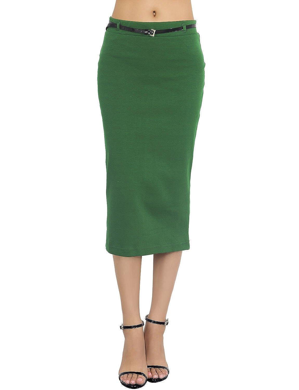 iB-iP Womens Elastic Bodycon Slim fit Bandage Soft midi High Waist Pencil Skirt WISI03GT0320PEAA