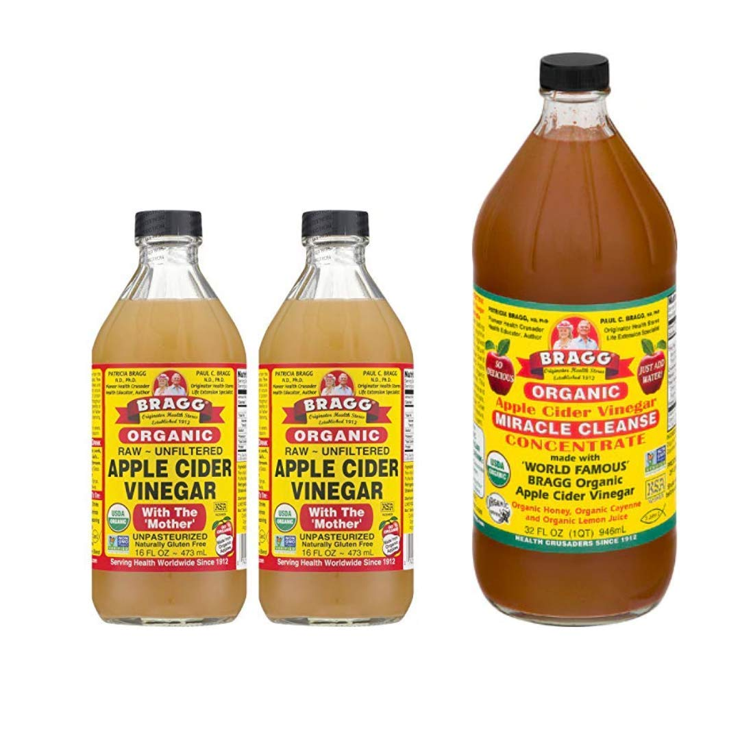 Bragg Organic Apple Cider Vinegar With the Mother 16 Ounce, 2 Pack and Organic Miracle Cleanse Apple Cider Vinegar 32 Ounce Bundle