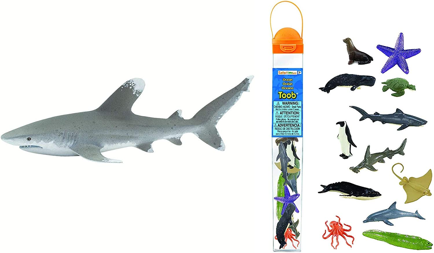 Safari Ltd. Wild Safari Sea Life- Oceanic Whitetip Shark Toy Figurine Bundled with Safari Ltd. Ocean TOOB with 12 Different Figurine Models Included- Quality Constructed Toy Figurine Models (Ages 3+)