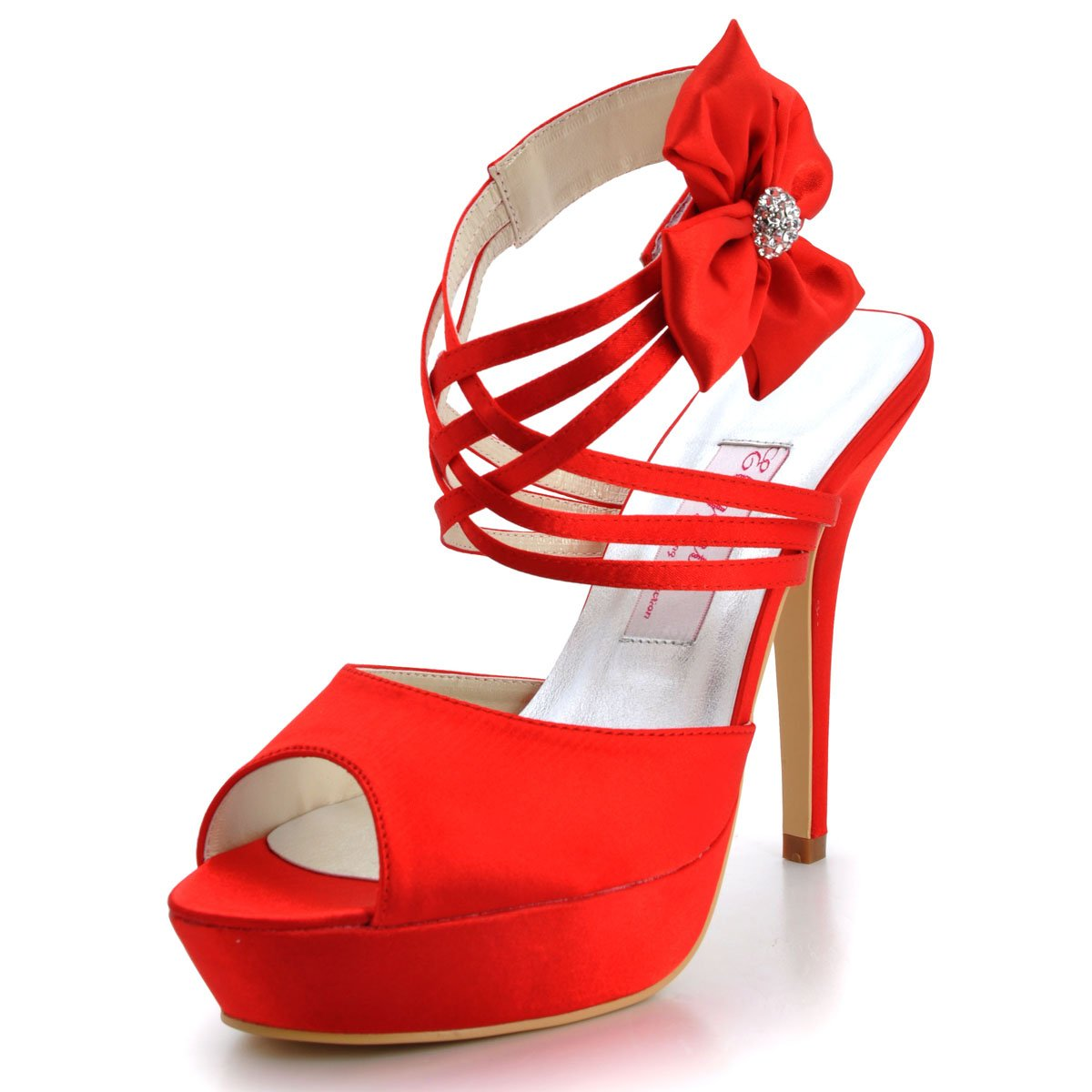 Elegantpark EP2031-PF Femme Bout Ouvert Chaussures Plateau Plateau Aiguille Fleurs Multi Rouge bride Sandales Chaussures De Mariage Mariee Rouge 7814482 - latesttechnology.space
