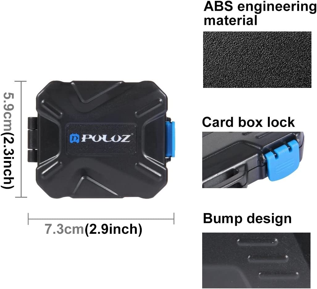 3SD Card 2CF 2TF PULUZ 9 In 1 Water-resistant Memory Card Case for 2XQD