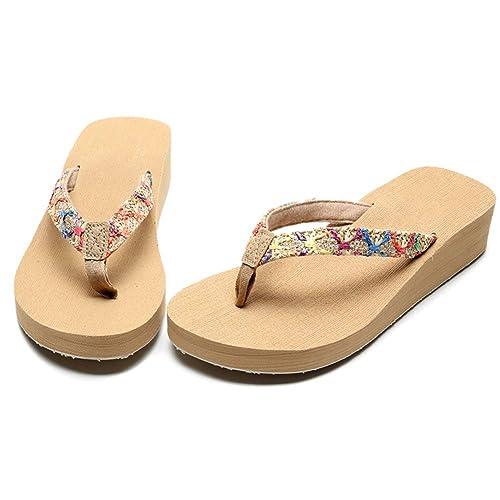 Tacón Cuña Flops Con De Casual Clip Sandalias Estilo Para Mujer Flip 0n8wOmNv