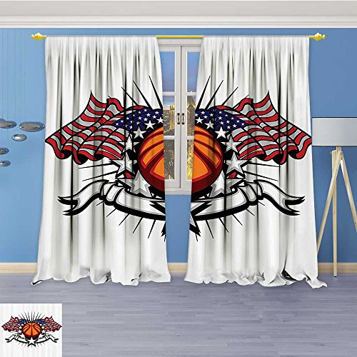Star Shine Lab Collection (Kitchen Decor Collection,etball with Flags and Stars Banner Sunshine Stripes Champiship,Window Treatments for Kitchen Curtains 2 Panels, 72W x 84L Inch)