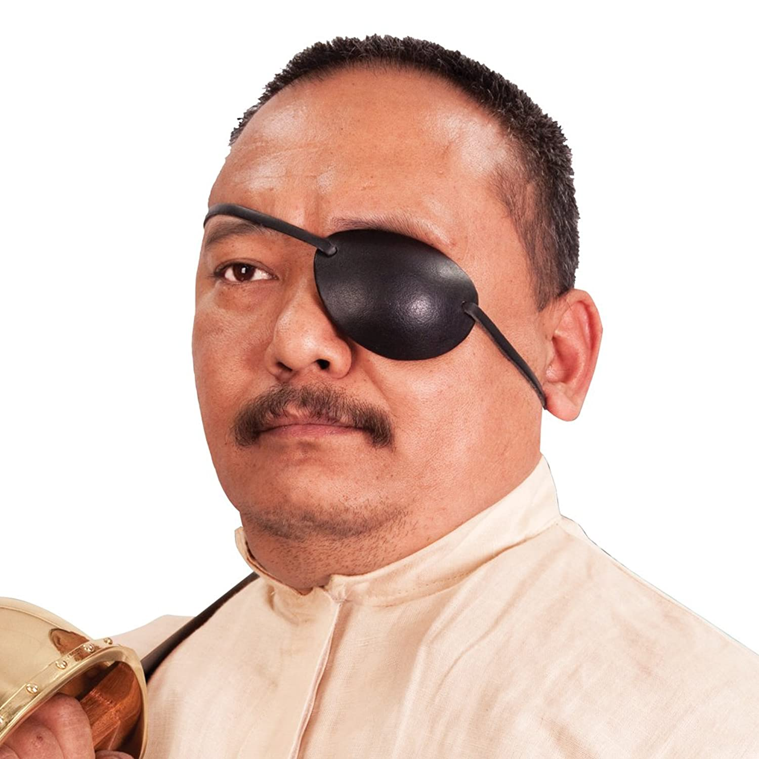 Deluxe Adult Costumes - Men's pirate black leather left eye patch costume accessory