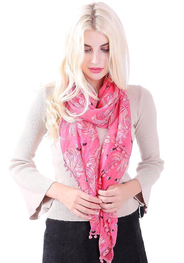 Flamingo Print Pom Pom Quaste Schals f/ür Frauen lange Wrap Schal Schals von DiaryLook
