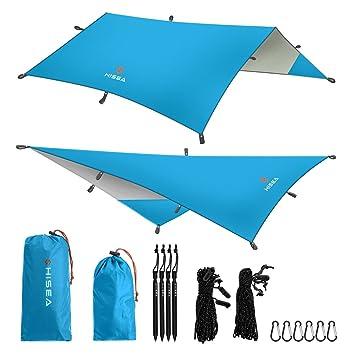Hisea Hamaca Lona Rain Fly Tent Tarps 3m x 3m - Ligero Impermeable ...