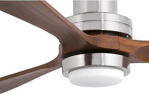Faro Barcelona Lantau 33463 - Ventilador con luz (bombilla incluida), cuerpo de acero y palas de madera natural nogal oscuro: Amazon.es: Iluminación