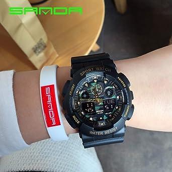 27ccb38d68 Amazon | HWCOO 美しい腕時計 ファッションメンズウォッチLEDスポーツ防水電子腕時計デュアルディスプレイ多機能大時計 (Color :  2) | メンズ腕時計 | 腕時計 通販