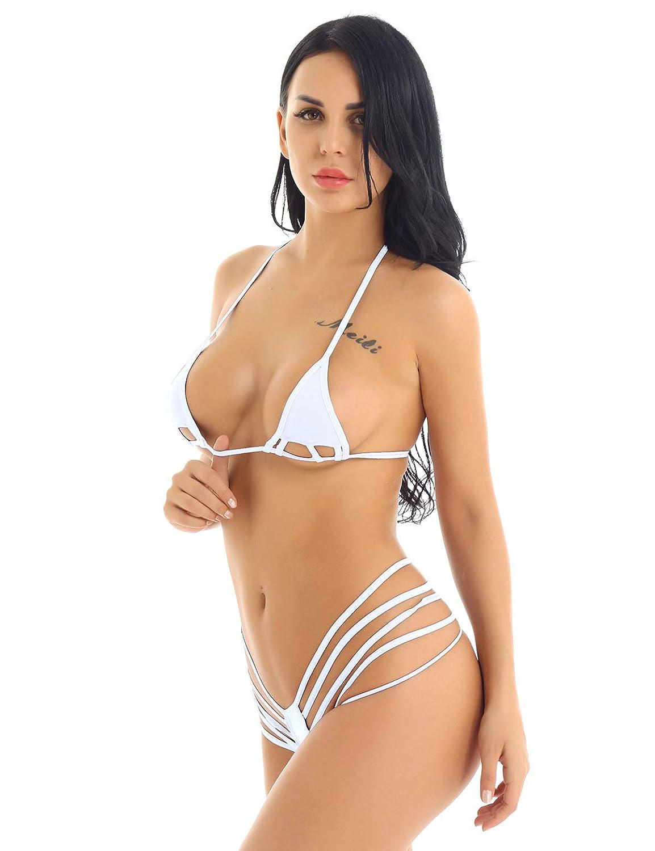 78b527f7c096 Freebily Mujer Micro Mini Bikinis Sexy Traje de Baño Playa Push Up ...