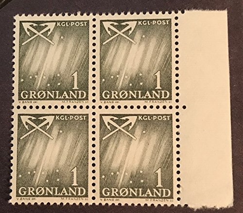 Postage Stamps of GREENLAND #48 - 1 ore Northern Lights & Big Dipper, Astronomy Topic, Right Margin Block of Four, MNH, 1960's, Very Fine (Greenland Stamp)