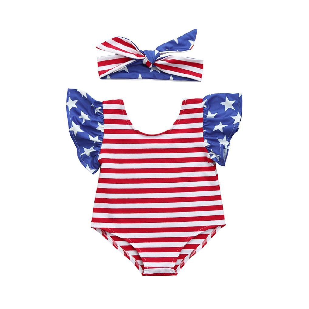 Fartido Romper Baby Girl Stars Striped 4th of July Jumpsuit Set with Bowknot WQAQ16