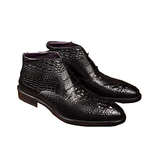 Botas Martin De Encaje Negro para Hombre, Botines De Tendencia De Moda Vaquero para Hombre, Botas De Cocodrilo con Patrón De Inglaterra, para Hombre: ...