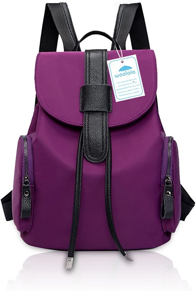 Yoome Oxford Backpack with Cow Leather Casual Water Rsistant GirlsCampus Bag Travling Shopping
