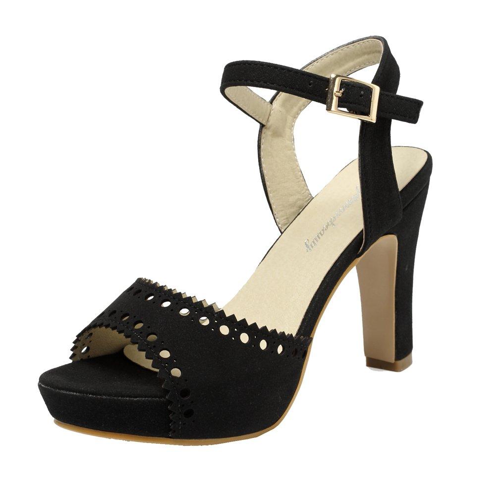 Black-197 getmorebeauty Women's Vintage Suede Ankle T Straps Dress Block Heeled Sandals Pumps