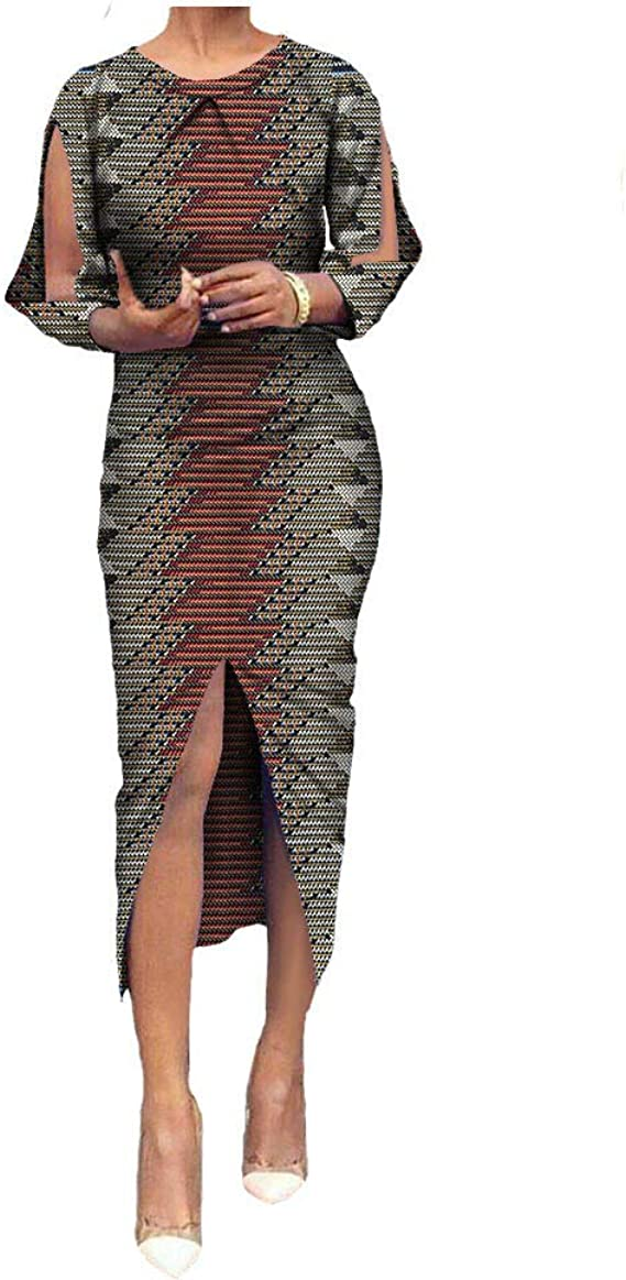 Details about  /African Clothing For Women Ankara Dansiki Midi Dress Gown Y20769