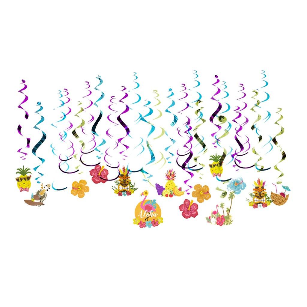 Baoblaze 30 Piè ces Tourbillons de Suspension Plastique Dé coupage Flamant Fleur Hibiscus Scintillante Embellissement Fê te d'anniversaire