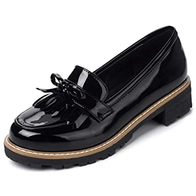 183e434232663 DecoStain Womens Cute Tassels Patent Leather Flat Loafers Casual Fringe  Work School Shoes Penny Loafers