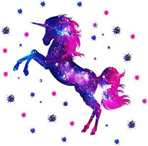 Colorful Galaxy Unicorn and Stars 3D Wall Stickers , Removable Mural Decal,The Art Magic Horse Home Decor for Kid's Living Room Bedroom