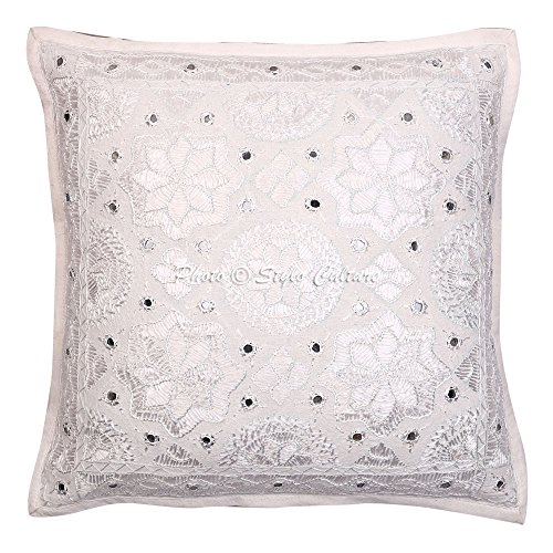 Stylo Culture Cotton Indian Throw Pillow Cover 16x16 White Mirror Work Embroidered Cotton Cushion Cover 16 x 16 Star Moon Square Pillowcase By by Stylo Culture