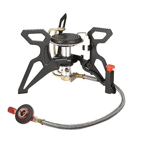 Andake Estufa de Gas Quemador Hornillo de Butano Horno de Split Plegable Portátil A Prueba de
