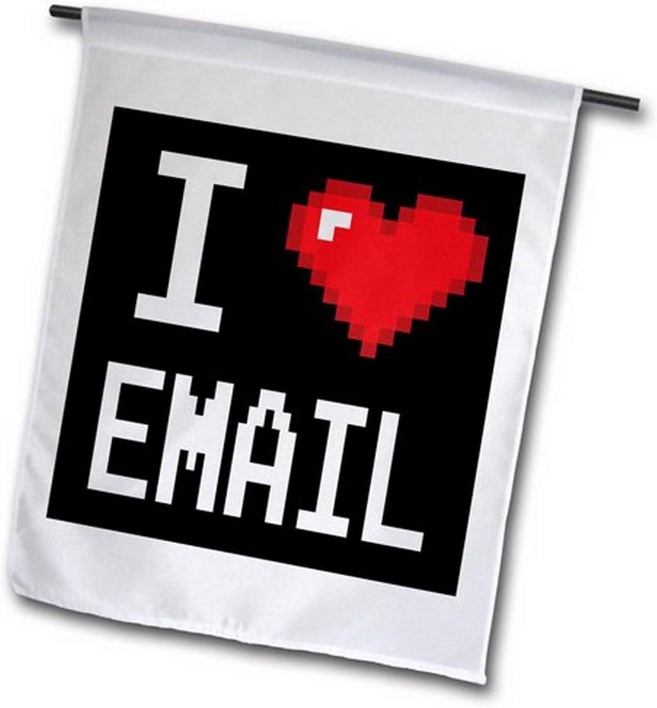 3dRose fl_118881_1 Geeky Old School Pixelated Pixels 8-Bit I Heart I Love Email Garden Flag, 12 by 18
