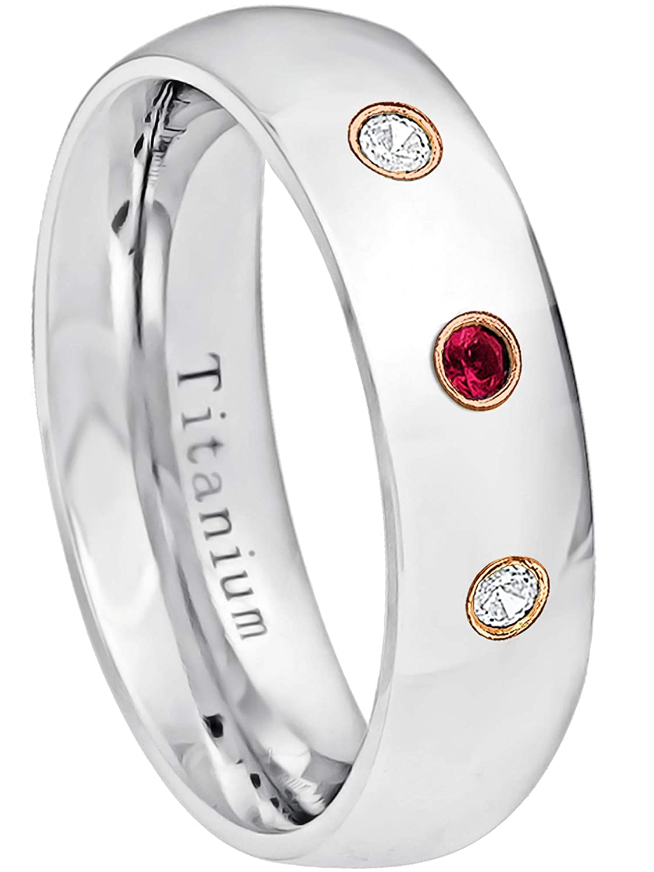 6MM Comfort Fit Polished Classic Dome White Titanium Wedding Band 0.21ctw Ruby /& Diamond 3-Stone Titanium Ring