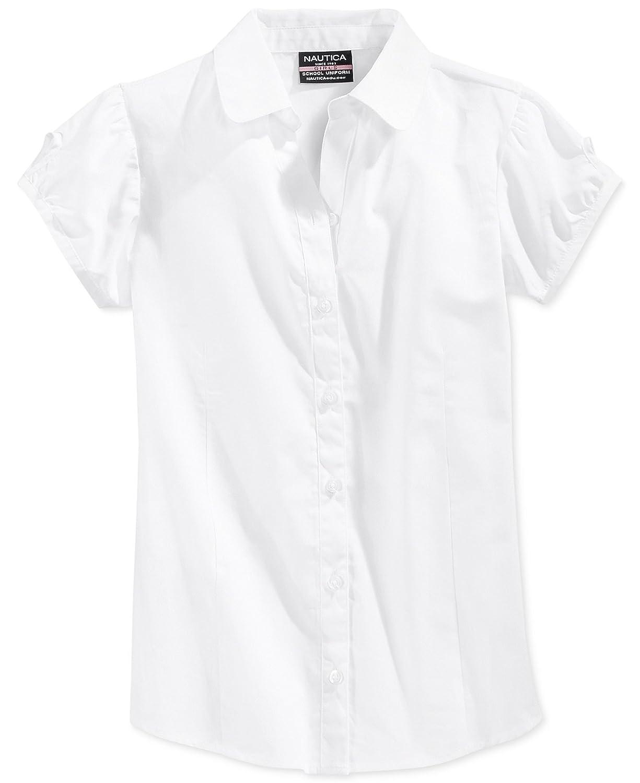 Nautica Girls Uniform Puff-Sleeve Top White