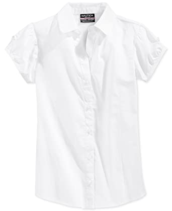 9ccef74103db Amazon.com: Nautica Girls' Uniform Puff-Sleeve Top - White: Clothing