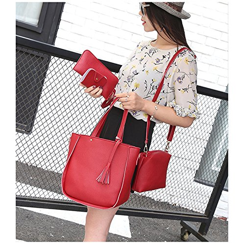 piel set Satchel 4 bolsas rojo flecos mujeres con rojo Bolso Moda a Negro sintética la bolso set cartera nbsp;pcs Tarjeta 7tPxtg