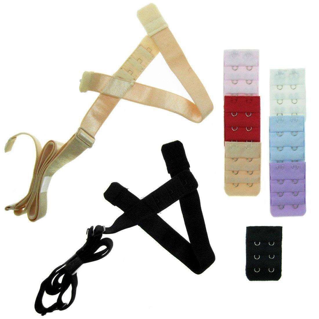 kilofly Low Back Bra Strap Converter Value Pack [Set of 2, Black & Beige + 7 Bra Back Extender, 3 Rows x 2 Hooks] UNW401set9A