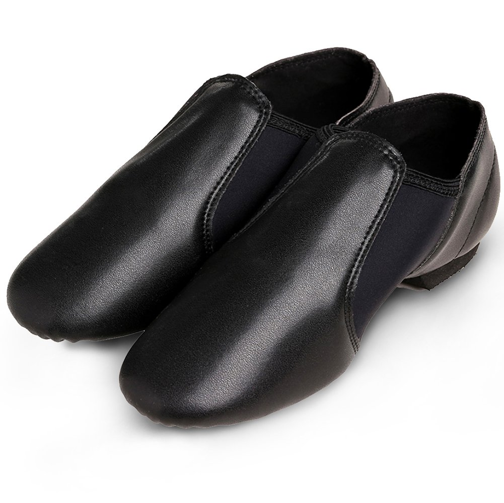 STELLE Slip-on Jazz Shoes for Women Men Teens (Women 9M, Black) by STELLE (Image #4)