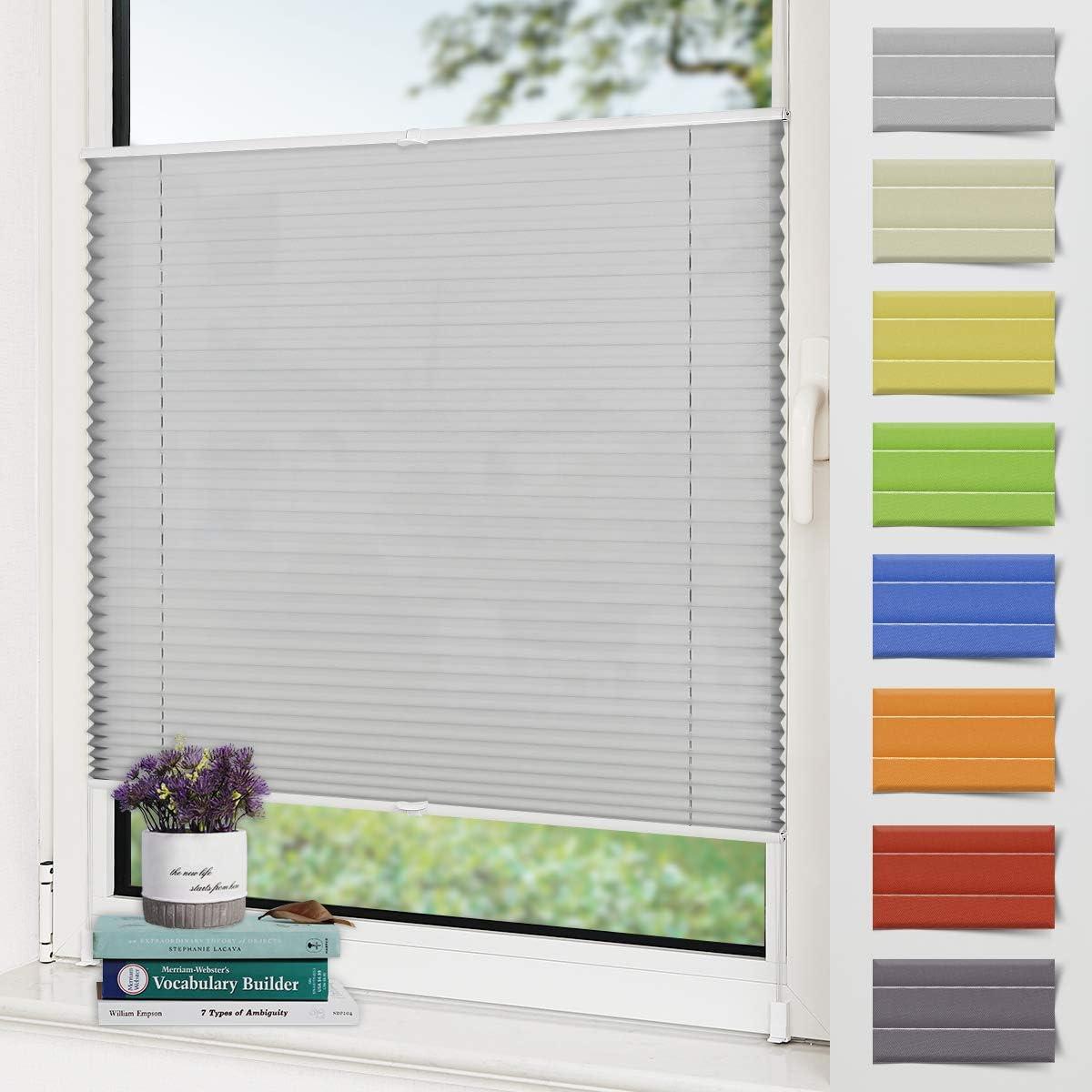 Zarnan Estor plisado Klemmfix sin agujeros, color gris claro, 35 x 100 cm (ancho x alto), protección solar, para ventanas y puertas, con soportes de fijación