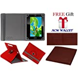 """Acm Rotating Leather Flip Case for Datawind Ubislate 7"""" Tablet Cover Stand Red (FREE Acm Wallet Included)"""