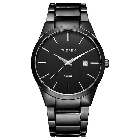 Curren 8106 marca de lujo para hombre relojes resistente al agua de acero negro Business macho reloj de pulsera cuarzo watch-black: Amazon.es: Relojes