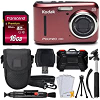 Kodak PIXPRO FZ43 16.15MP Digital Camera with 4X Optical Zoom (Red) + Transcend 16GB SDHC Class10 UHS-I Card 400X…