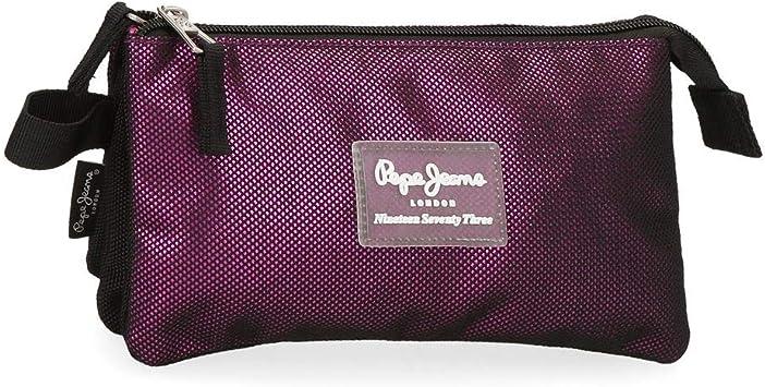 Estuche Pepe Jeans Lily Tres Compartimentos, Morado, 22x12x5 cm: Amazon.es: Equipaje