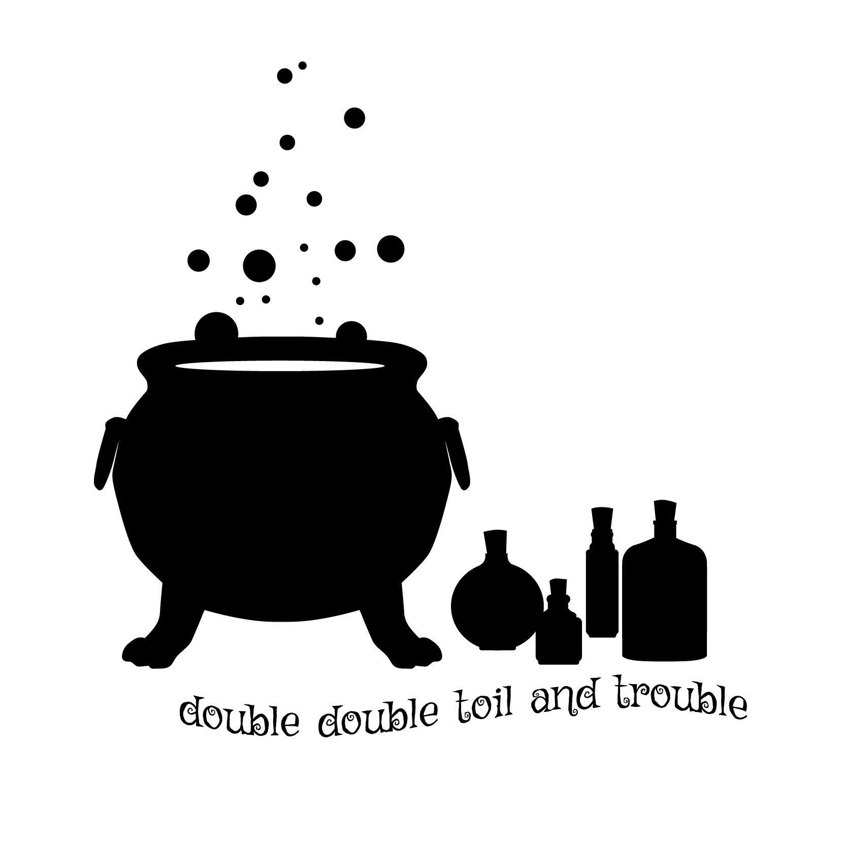 Halloween Harry Potter Black Wizard Cauldron and Potions Bottles - Black - Vinyl Wall Art Decal for Homes, Offices, Kids Rooms, Nurseries, Schools, High Schools, Colleges, Universities, Events