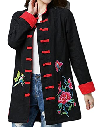 7c527c1d346 ouxiuli Women s Chinese Style Thicken Embroidery Printing Slim Fit Down  Long Coat Black M