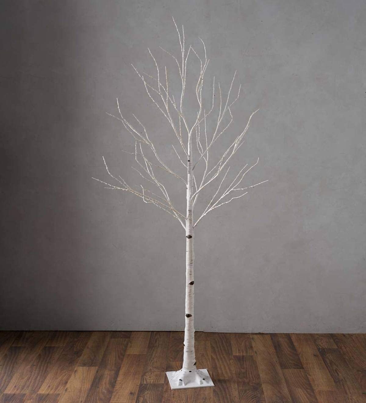 Plow & Hearth Large Indoor/Outdoor Birch Tree with 600 Warm White Lights - White