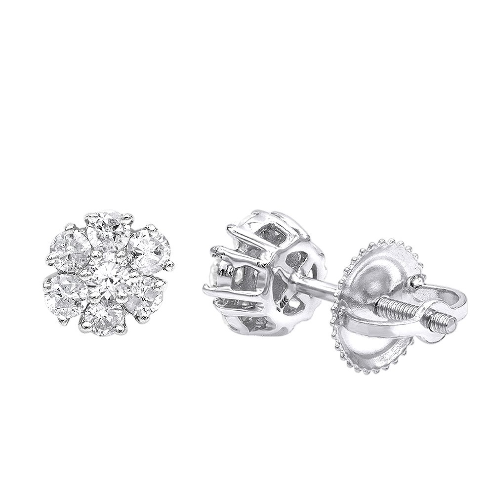 Ladies 2 Carat Look Diamond Studs Earrings 14K Rose, White or Yellow Gold 0.5ctw (White Gold)