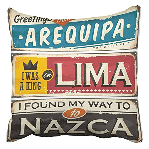 Emvency Decorative Throw Pillow Covers Cases 1940S Travel to Peru Retro Tin Signs Collection Souvenir Templates Cities in South America 16x16 inches Pillowcases Case Cover Cushion Two Sided]()